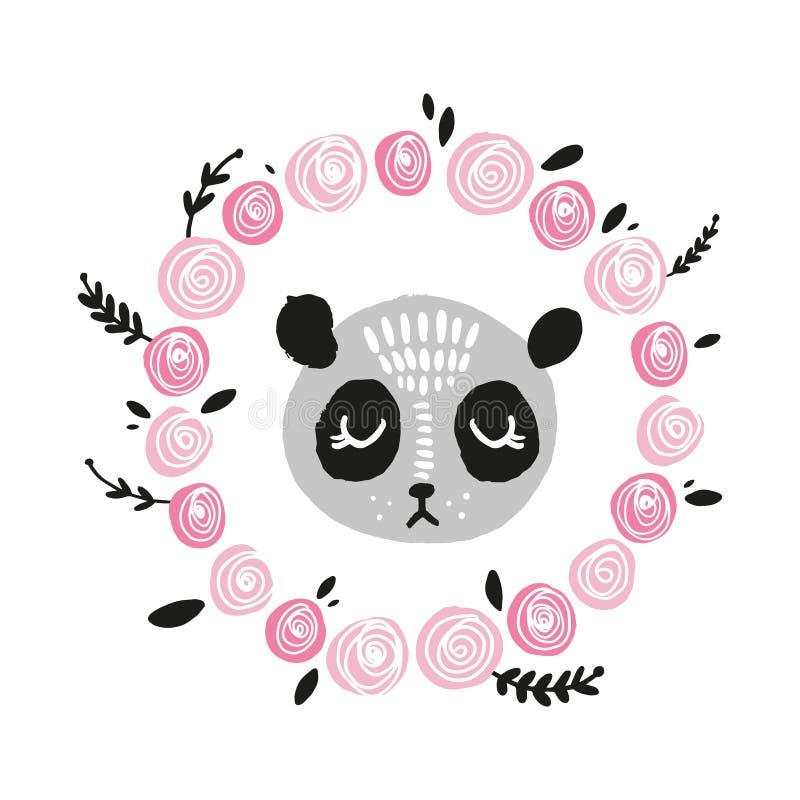 Χαριτωμένο πρόσωπο panda Σκανδιναβική απεικόνιση ύφους, εικονίδιο ελεύθερη απεικόνιση δικαιώματος