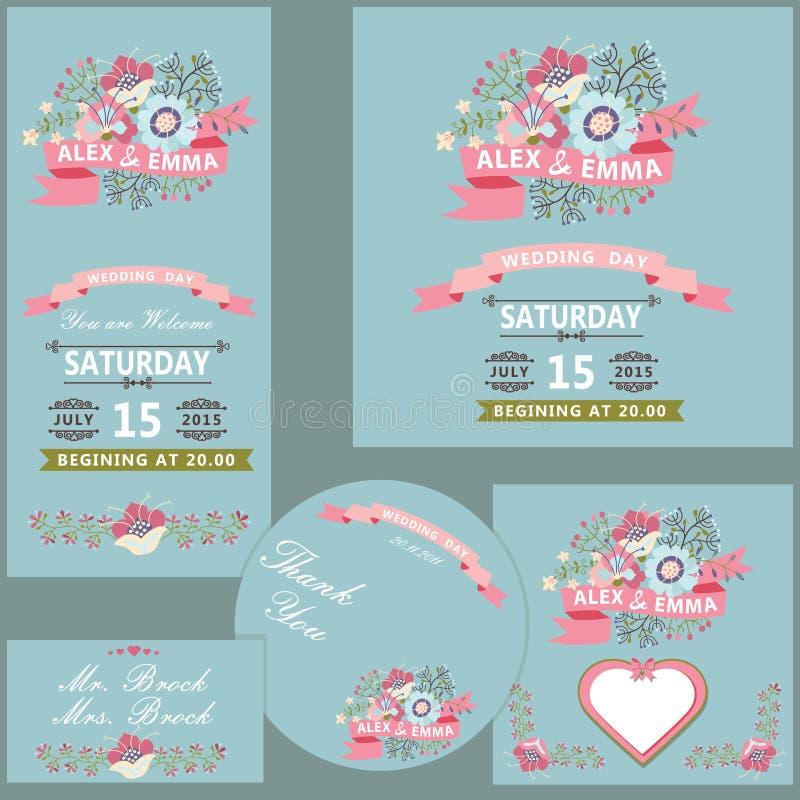 Χαριτωμένο πρότυπο γαμήλιου σχεδίου που τίθεται με τα λουλούδια ελεύθερη απεικόνιση δικαιώματος