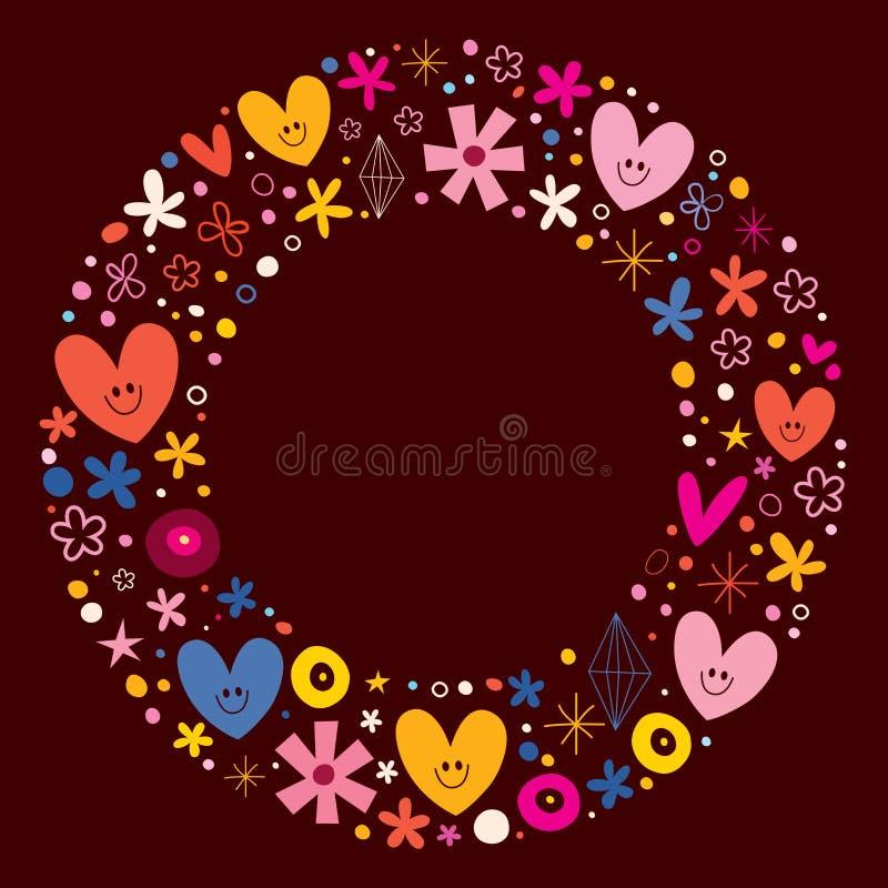 Χαριτωμένο πλαίσιο κύκλων καρδιών και λουλουδιών απεικόνιση αποθεμάτων