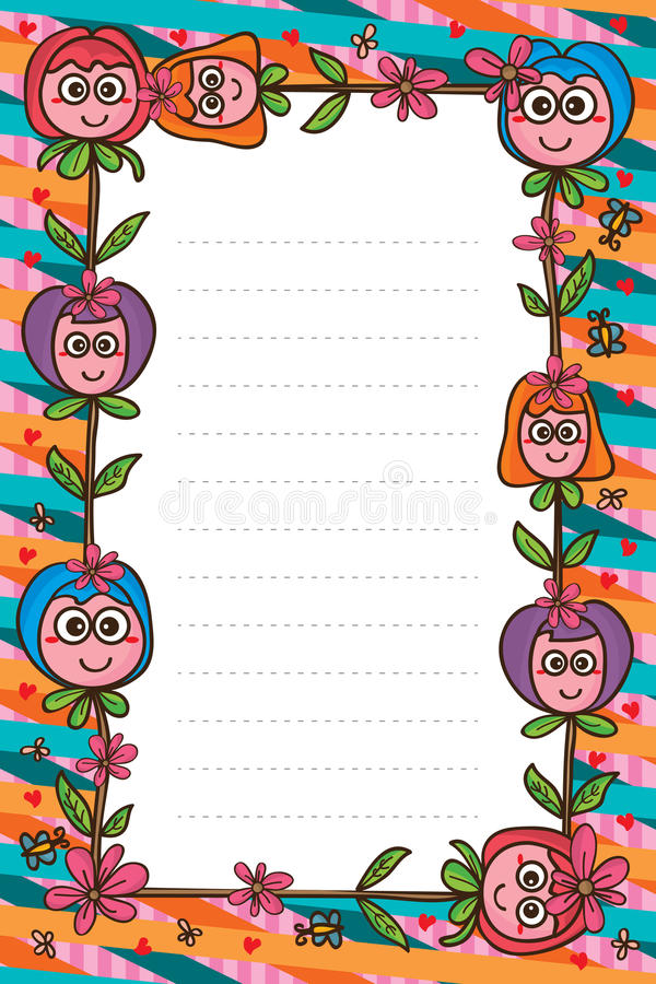 Χαριτωμένο πλαίσιο μασκότ λουλουδιών διανυσματική απεικόνιση