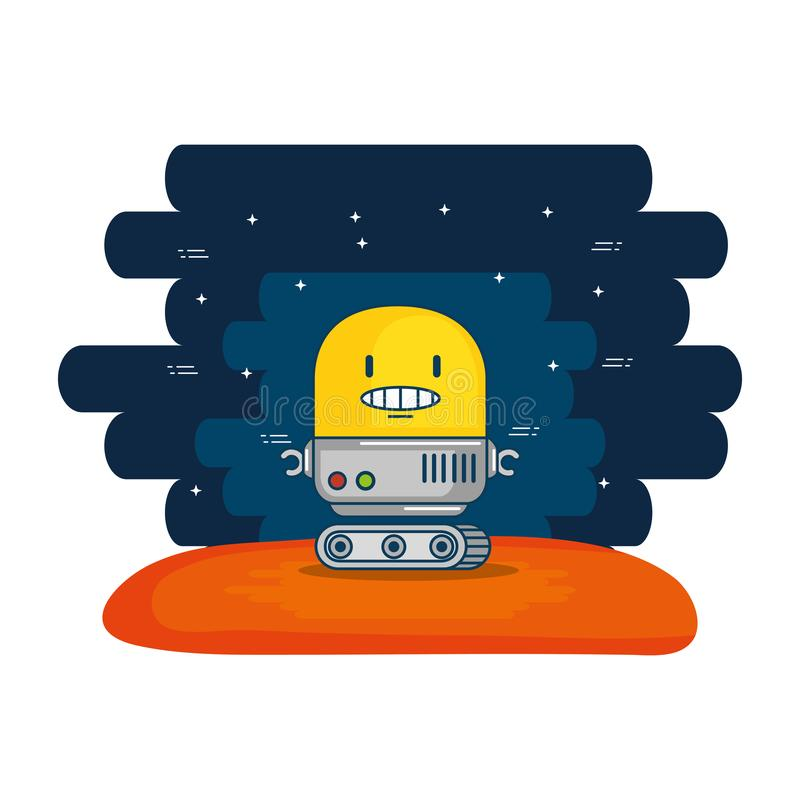 Χαριτωμένο ρομπότ ηλεκτρονικό με το υπόβαθρο κόσμου απεικόνιση αποθεμάτων