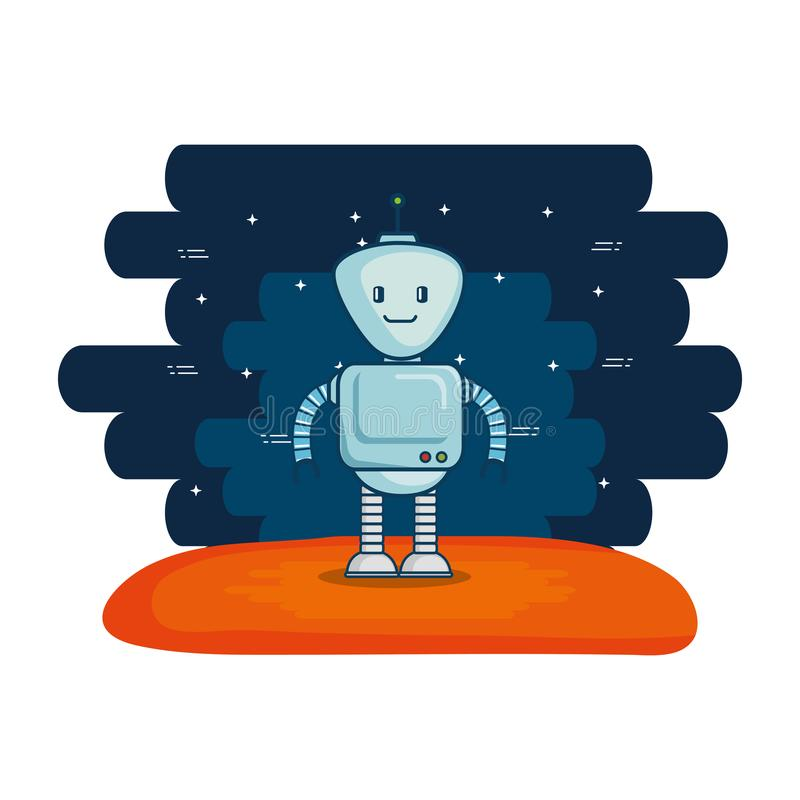 Χαριτωμένο ρομπότ ηλεκτρονικό με το υπόβαθρο κόσμου ελεύθερη απεικόνιση δικαιώματος