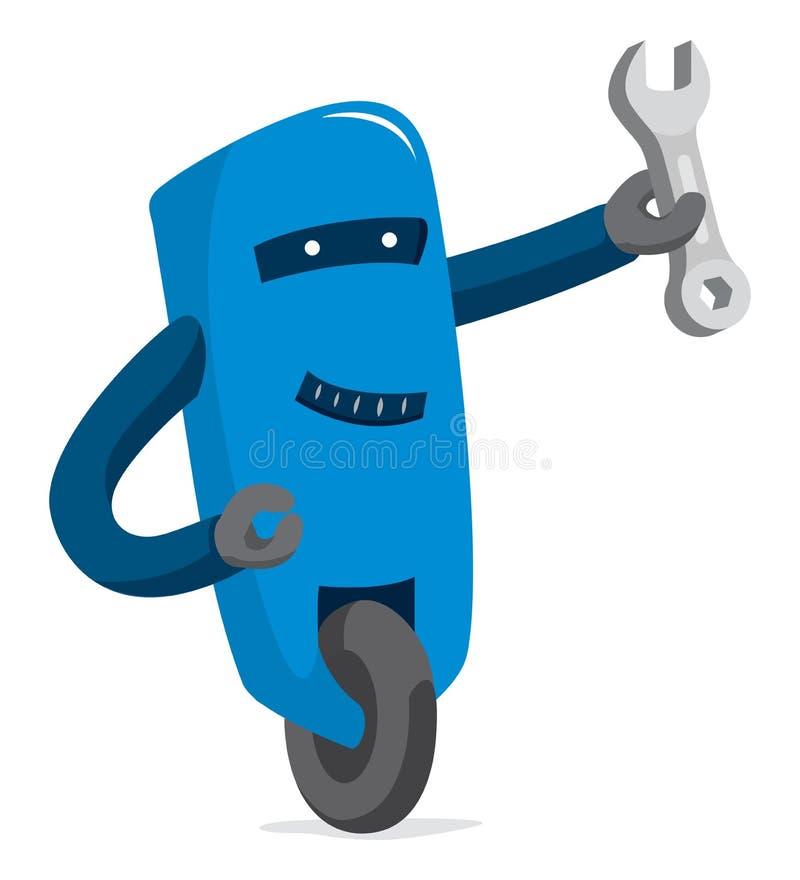Χαριτωμένο ρομπότ που κρατά ένα γαλλικό κλειδί απεικόνιση αποθεμάτων