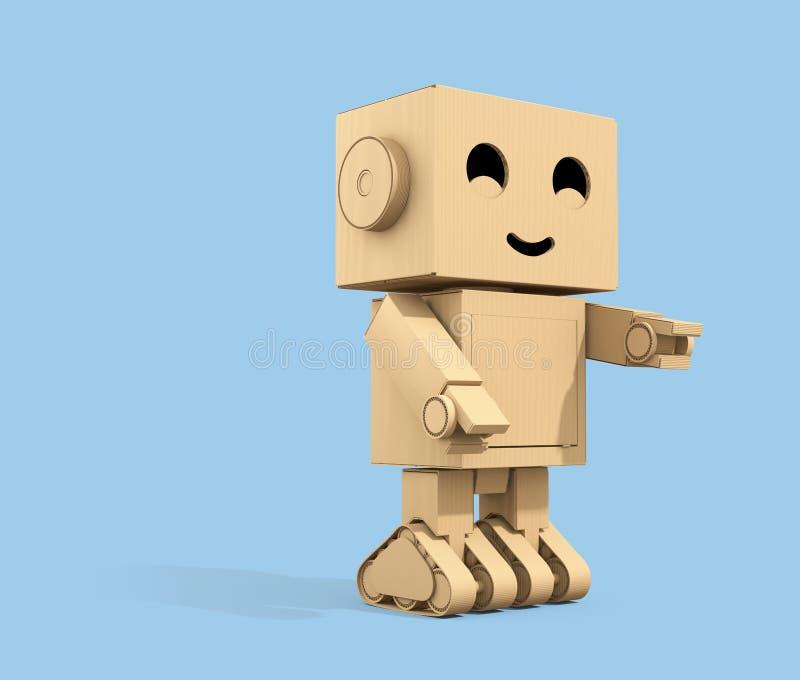 Χαριτωμένο ρομπότ χαρτονιού χαρακτήρα κινουμένων σχεδίων που απομονώνεται στο ανοικτό μπλε υπόβαθρο με το διάστημα αντιγράφων διανυσματική απεικόνιση
