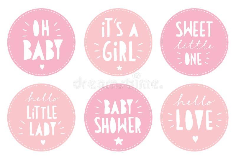 Χαριτωμένο ρόδινο μωρών σύνολο αυτοκόλλητων ετικεττών ντους διανυσματικό Αυτό ` s ένα κόμμα κοριτσιών ελεύθερη απεικόνιση δικαιώματος