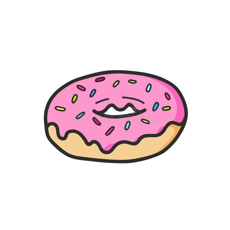 Χαριτωμένο ρόδινο doughnut σχέδιο Άχρηστο φαγητό Διάνυσμα που απομονώνεται απεικόνιση διανυσματική απεικόνιση