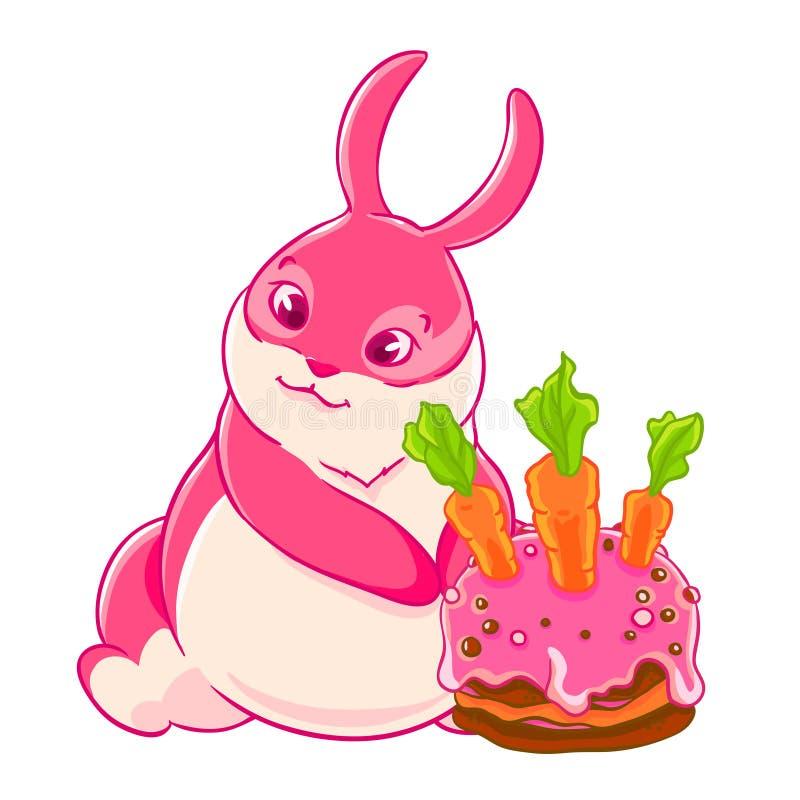 Χαριτωμένο ρόδινο κέικ λαγουδάκι και γενεθλίων επίσης corel σύρετε το διάνυσμα απεικόνισης διανυσματική απεικόνιση