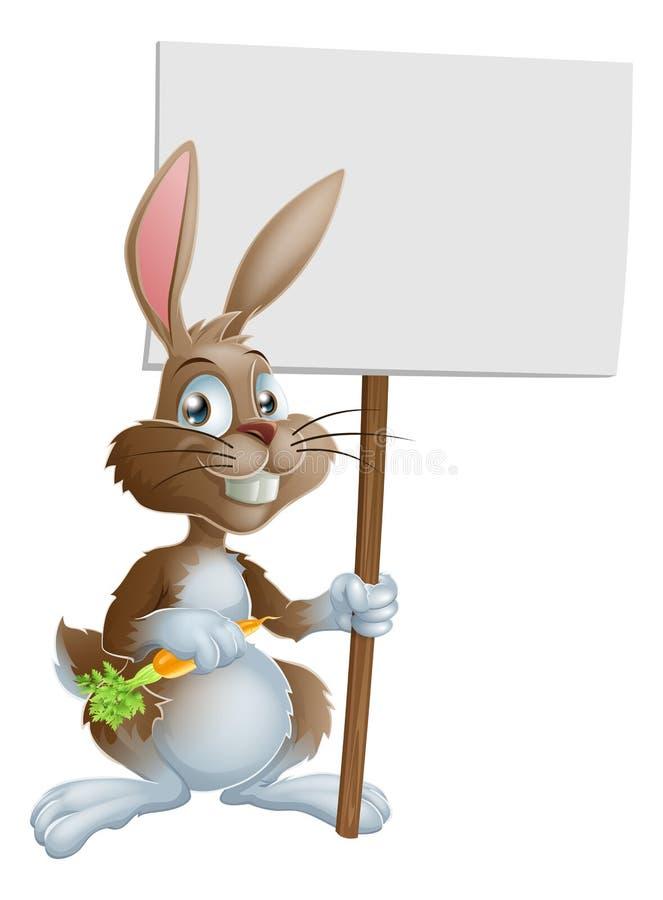 Χαριτωμένο σημάδι καρότων κουνελιών λαγουδάκι Πάσχας ελεύθερη απεικόνιση δικαιώματος