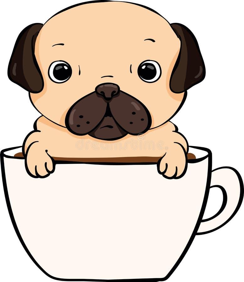 Χαριτωμένο σκυλί μαλαγμένου πηλού σε μια κούπα Cofee στοκ εικόνες
