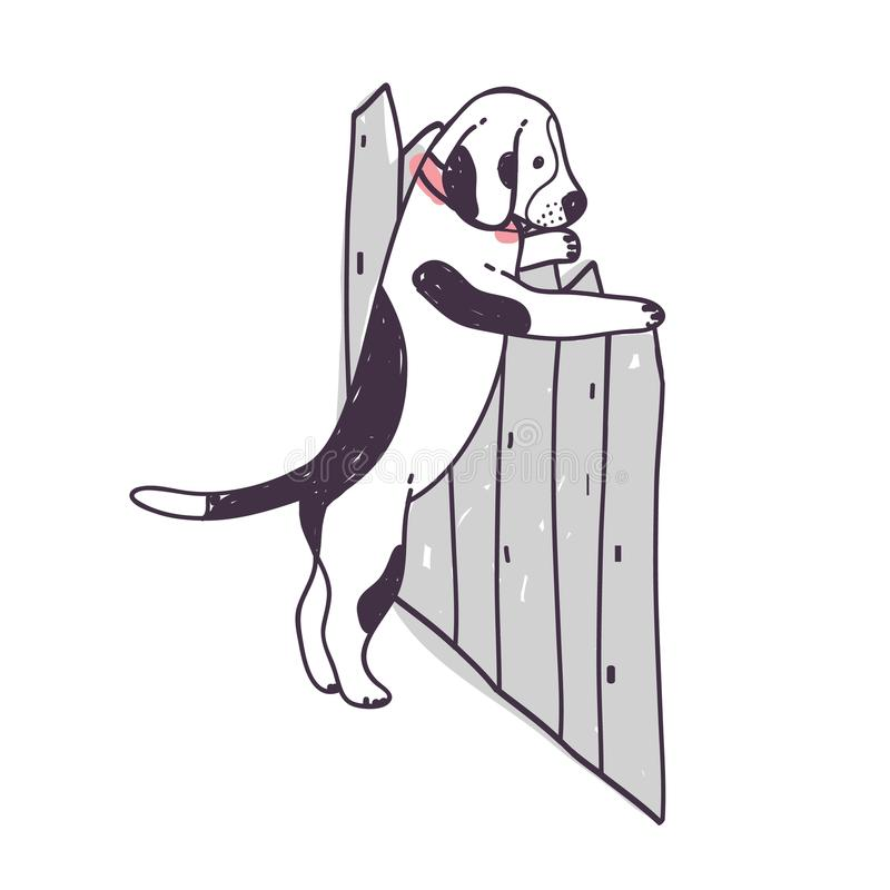 Χαριτωμένο σκυλί που προσπαθεί να αναρριχηθεί πέρα από το φράκτη και τη διαφυγή Αστείο άτακτο σκυλάκι ή κουτάβι που απομονώνεται  απεικόνιση αποθεμάτων