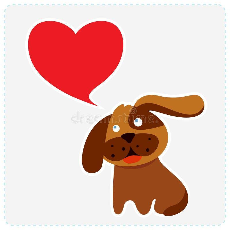 Χαριτωμένο σκυλί με την καρδιά ελεύθερη απεικόνιση δικαιώματος