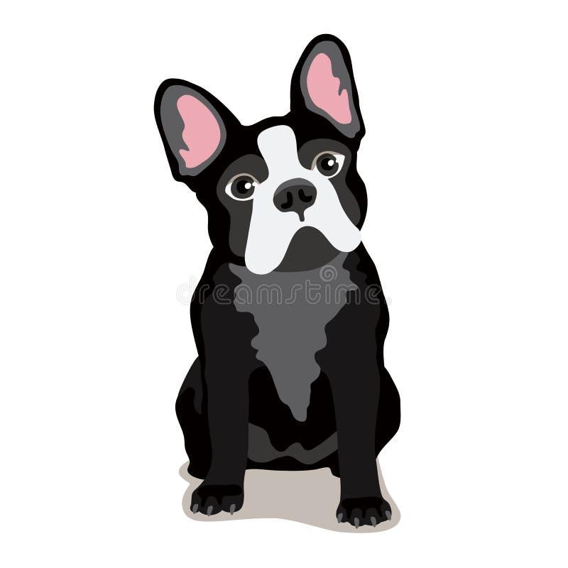 Χαριτωμένο σκυλί μπουλντόγκ διάνυσμα απεικόνιση αποθεμάτων