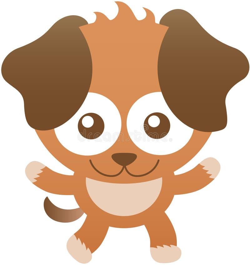 Χαριτωμένο σκυλί μωρών που χαμογελά και που ανοίγει τις αγκάλες του απεικόνιση αποθεμάτων