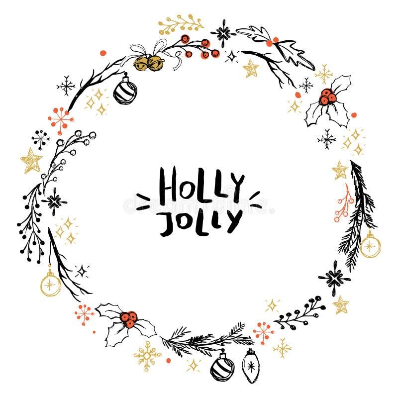 Χαριτωμένο στεφάνι Χριστουγέννων με συρμένα τα χέρι στοιχεία απεικόνιση αποθεμάτων