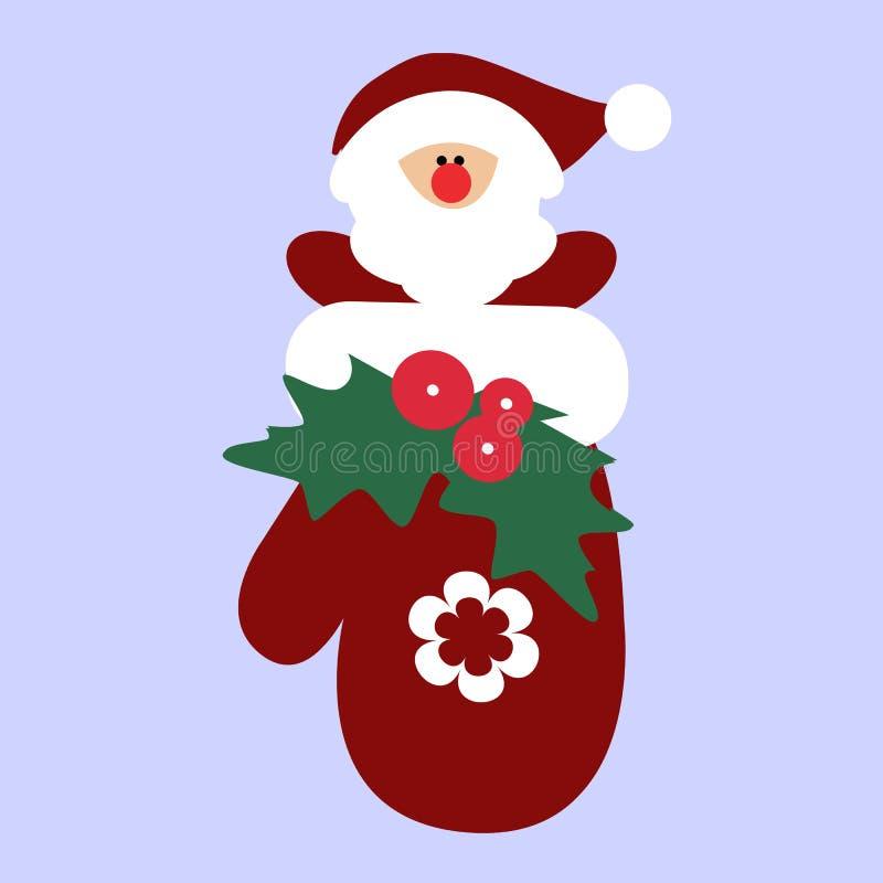Χαριτωμένο στοιχειό Santa Χριστουγέννων διακοπών μωρών μέσα στο γάντι ελεύθερη απεικόνιση δικαιώματος
