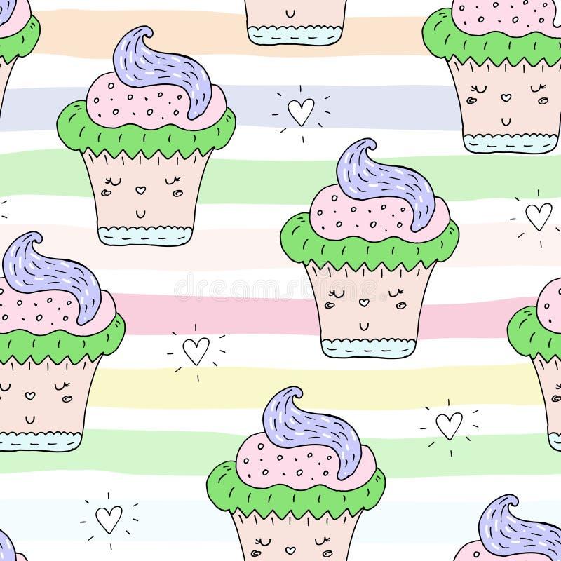 Χαριτωμένο συρμένο χέρι άνευ ραφής σχέδιο με το σχέδιο cupcake επίσης corel σύρετε το διάνυσμα απεικόνισης απεικόνιση αποθεμάτων