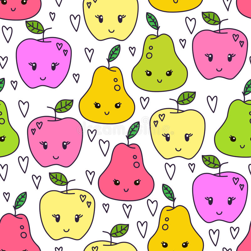 Χαριτωμένο συρμένο χέρι άνευ ραφής σχέδιο αχλαδιών και μήλων Γλυκό διανυσματικό υπόβαθρο τροφίμων Εύγευστο θερινό σχέδιο Τύλιγμα, διανυσματική απεικόνιση
