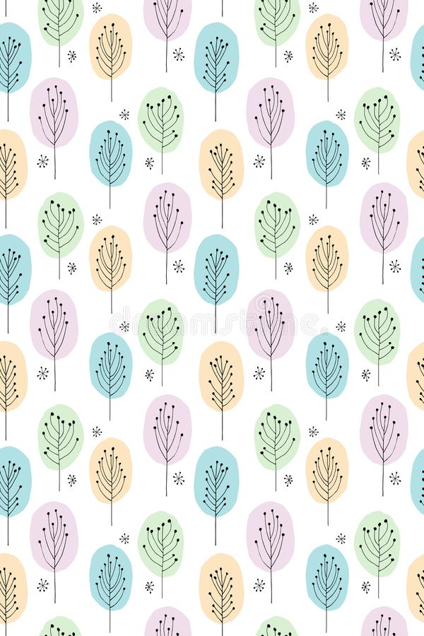 Χαριτωμένο συρμένο χέρι αφηρημένο διανυσματικό σχέδιο δέντρων Χρώματα κρητιδογραφιών, άσπρο υπόβαθρο Δασόβιο θέμα απεικόνιση αποθεμάτων