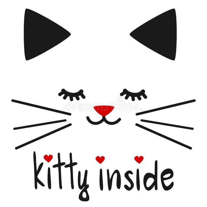 Χαριτωμένο συρμένο χέρι γατάκι μέσα στο απόσπασμα εγγραφής με την απεικόνιση γατών ελεύθερη απεικόνιση δικαιώματος