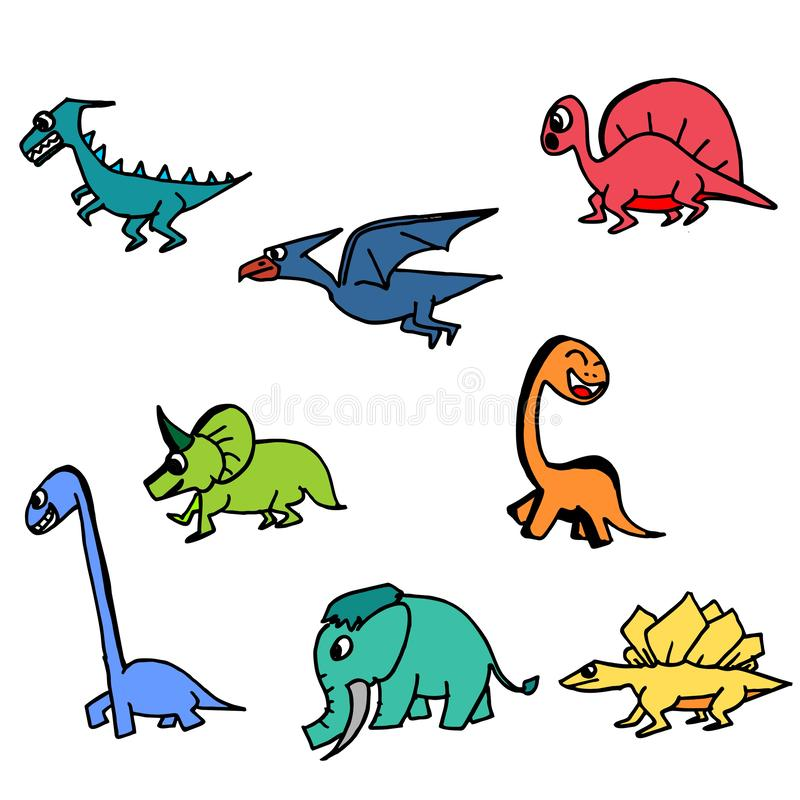 Χαριτωμένο συρμένο χέρι ζωηρόχρωμο σύνολο δεινοσαύρων Συλλογή του σχεδίου dinosaurus διανυσματική απεικόνιση