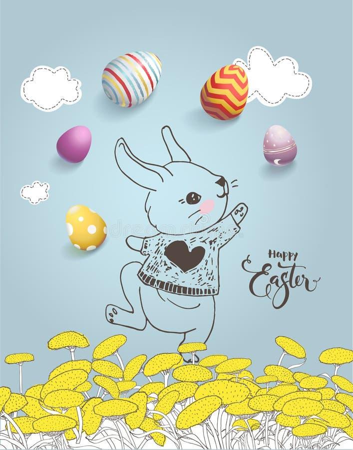 Χαριτωμένο συρμένο χέρι λαγουδάκι στον τομέα πικραλίδων, ζωηρόχρωμα αυγά, ευτυχής επιγραφή Πάσχας χειρόγραφη με την καλλιγραφική  απεικόνιση αποθεμάτων