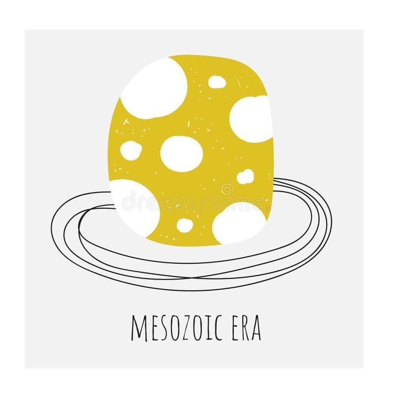 Χαριτωμένο συρμένο χέρι doodle αυγό δεινοσαύρων στην αστεία κάρτα φωλιών, κάρτα, υπόβαθρο με το αυγό σημείων Πόλκα για τα παιδιά διανυσματική απεικόνιση