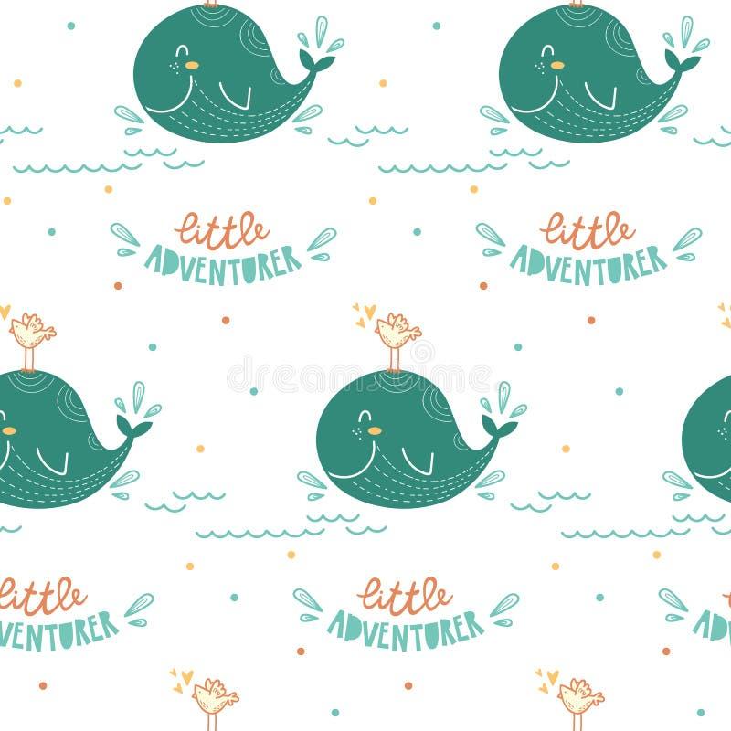 Χαριτωμένο σχέδιο για τα παιδιά, τα κορίτσια και τα αγόρια επίσης corel σύρετε το διάνυσμα απεικόνισης πρότυπο άνευ ραφής ελεύθερη απεικόνιση δικαιώματος