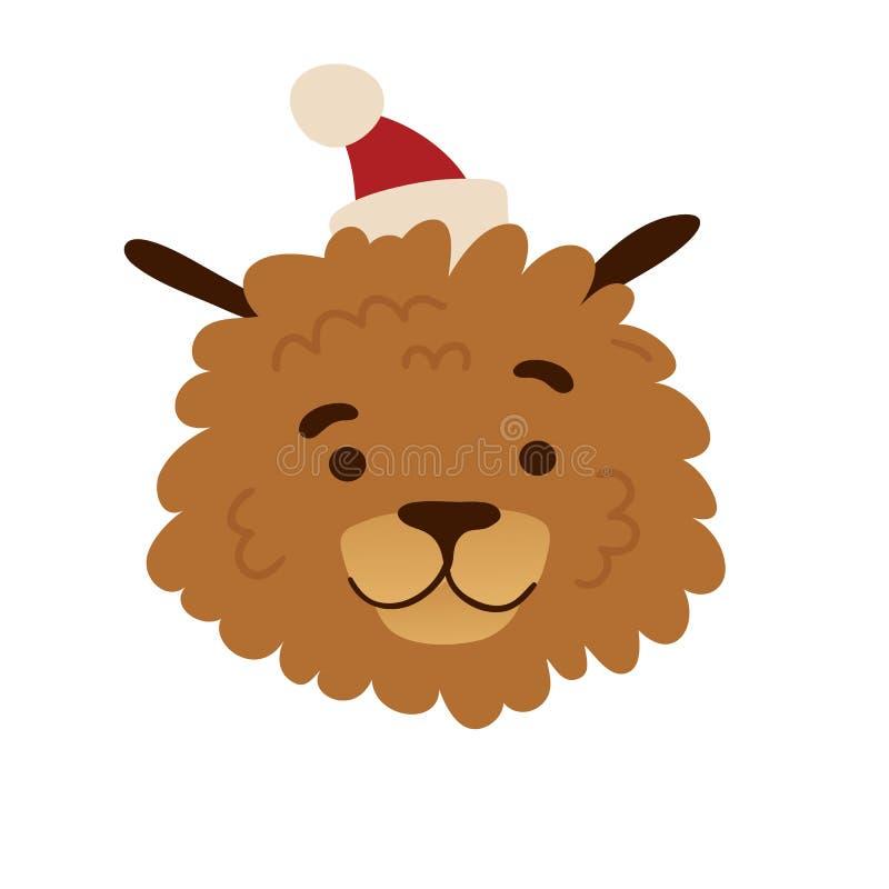 Χαριτωμένο σχέδιο ειδώλων με ένα σκυλί κινούμενων σχεδίων σε Χριστούγεννα ΚΑΠ Το σχέδιο αφισών με ένα εύθυμο σκυλάκι για τις ευτυ απεικόνιση αποθεμάτων