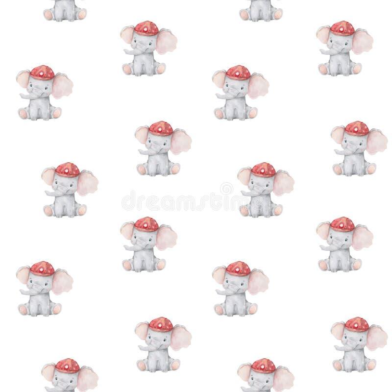 Χαριτωμένο σχέδιο ελεφάντων Άνευ ραφής υπόβαθρο με το ρόδινο χαρακτήρα κινουμένων σχεδίων ελεφάντων Ελάχιστο κορίτσι σχεδίου τυπω διανυσματική απεικόνιση
