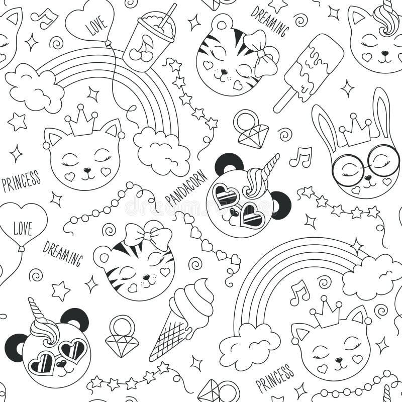 Χαριτωμένο σχέδιο ζώων σε ένα άσπρο υπόβαθρο Σύροντας για τα ενδύματα, τις μπλούζες, τα υφάσματα ή τη συσκευασία παιδιών αφηρημέν ελεύθερη απεικόνιση δικαιώματος