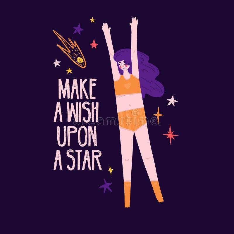 Χαριτωμένο σχέδιο με το απόσπασμα κινήτρου και το όμορφο κορίτσι του επιπλέοντος σώματος στο διάστημα Κάνετε μια επιθυμία επάνω σ απεικόνιση αποθεμάτων