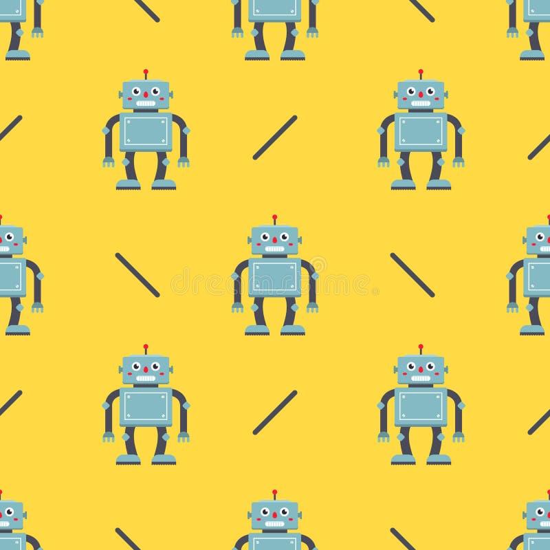 Χαριτωμένο σχέδιο ρομπότ σε ένα κίτρινο υπόβαθρο χαρακτήρας παιδιών για το ύφασμα ελεύθερη απεικόνιση δικαιώματος