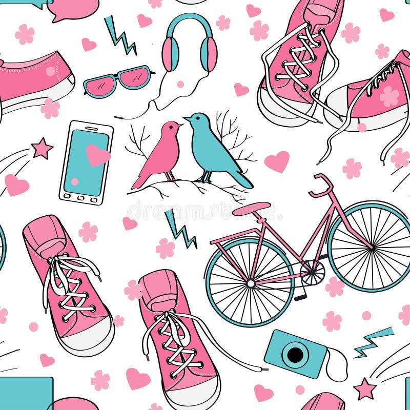 Χαριτωμένο σχέδιο κοριτσιών εφήβων απεικόνιση αποθεμάτων