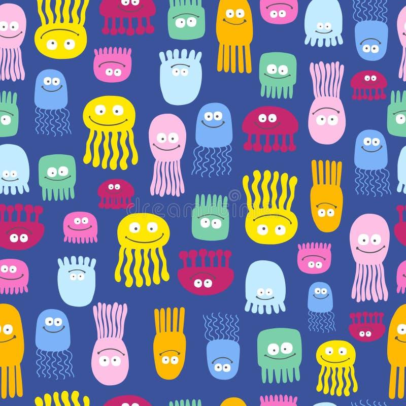 Χαριτωμένο σχέδιο μεδουσών απεικόνιση αποθεμάτων