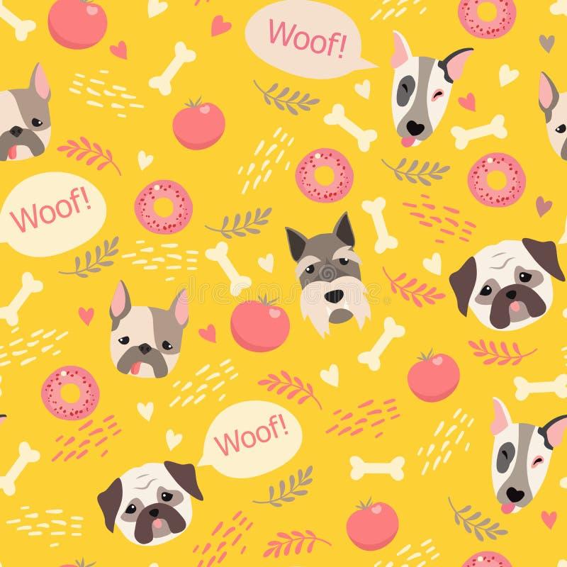 Χαριτωμένο σχέδιο σκυλιών διανυσματική απεικόνιση