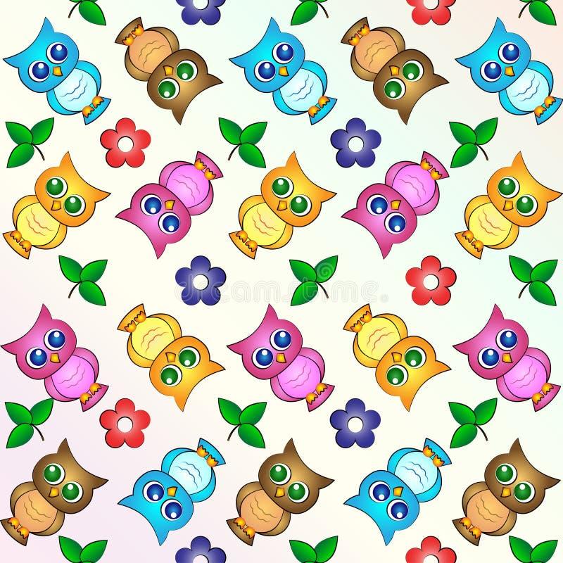 Χαριτωμένο σχέδιο ταπετσαριών υποβάθρου κουκουβαγιών στοκ φωτογραφία με δικαίωμα ελεύθερης χρήσης