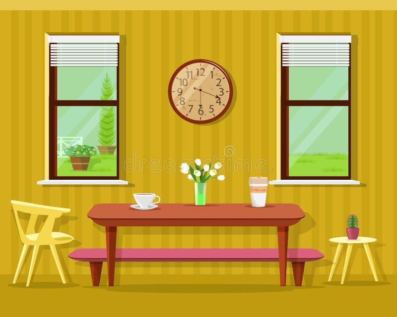Χαριτωμένο σύγχρονο εσωτερικό τραπεζαρίας: πίνακας με τα φλυτζάνια και τα λουλούδια καφέ, τις καρέκλες, το ρολόι και τα παράθυρα  διανυσματική απεικόνιση