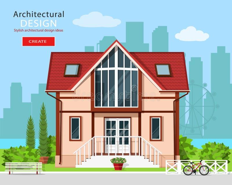 Χαριτωμένο σύγχρονο ιδιωτικό σχέδιο προσόψεων σπιτιών με τα δέντρα και το υπόβαθρο οριζόντων πόλεων Μοντέρνο λεπτομερές εξωτερικό απεικόνιση αποθεμάτων