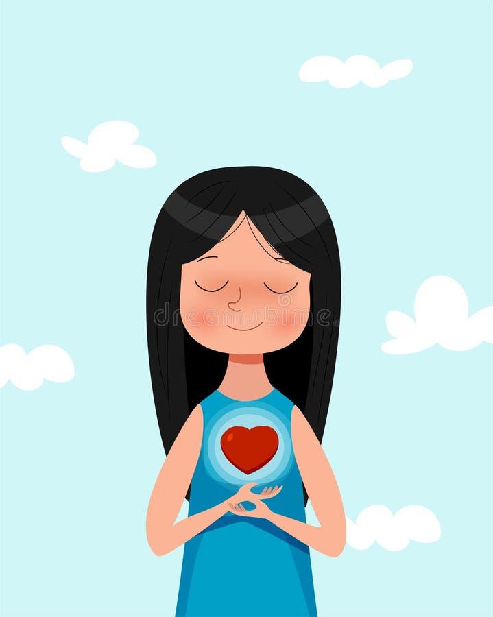 Χαριτωμένο σύμβολο αγάπης εκμετάλλευσης κοριτσιών κινούμενων σχεδίων Ερωτευμένη απεικόνιση έννοιας ελεύθερη απεικόνιση δικαιώματος