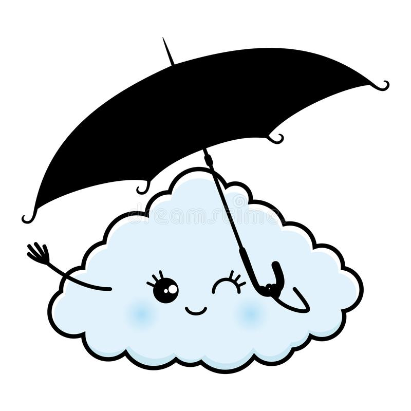 Χαριτωμένο σύννεφο με μια ομπρέλα ελεύθερη απεικόνιση δικαιώματος