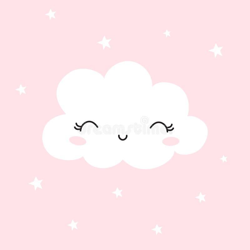 Χαριτωμένο σύννεφο Υπόβαθρο για τα παιδιά Μπορέστε να είστε χρήση για τις αφίσες τυπογραφίας, κάρτες, ιπτάμενα, εμβλήματα, το μωρ ελεύθερη απεικόνιση δικαιώματος