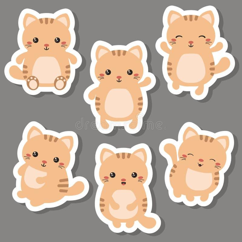 χαριτωμένο σύνολο γατών διανυσματική απεικόνιση