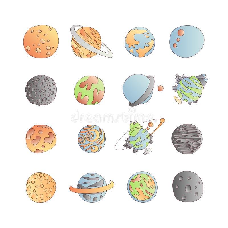 Χαριτωμένο σύνολο εικονιδίων πλανητών αστρονομίας κινούμενων σχεδίων Εικονίδια κινούμενων σχεδίων των διαφορετικών πλανητών doodl ελεύθερη απεικόνιση δικαιώματος