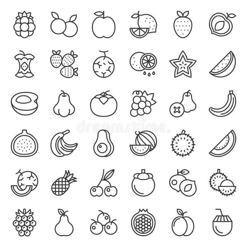Χαριτωμένο σύνολο 2 εικονιδίων φρούτων και περιλήψεων μούρων ελεύθερη απεικόνιση δικαιώματος