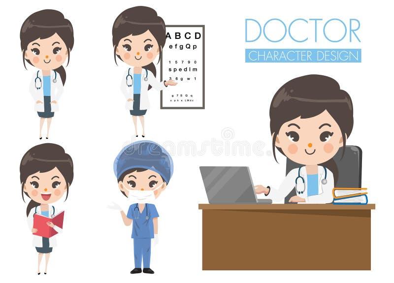 Χαριτωμένο σύνολο κοριτσιών γιατρών στις διάφορες χειρονομίες απεικόνιση αποθεμάτων