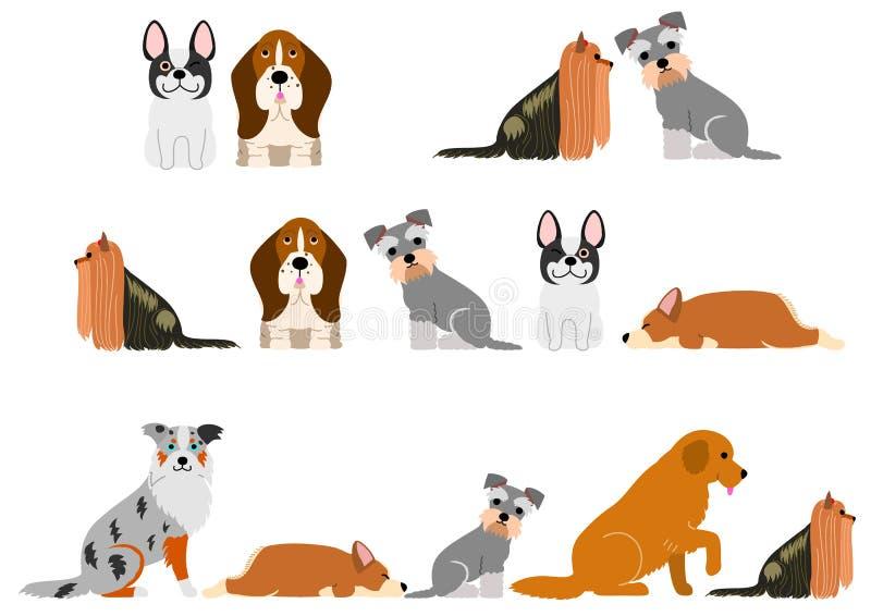 Χαριτωμένο σύνολο συνόρων σκυλιών απεικόνιση αποθεμάτων