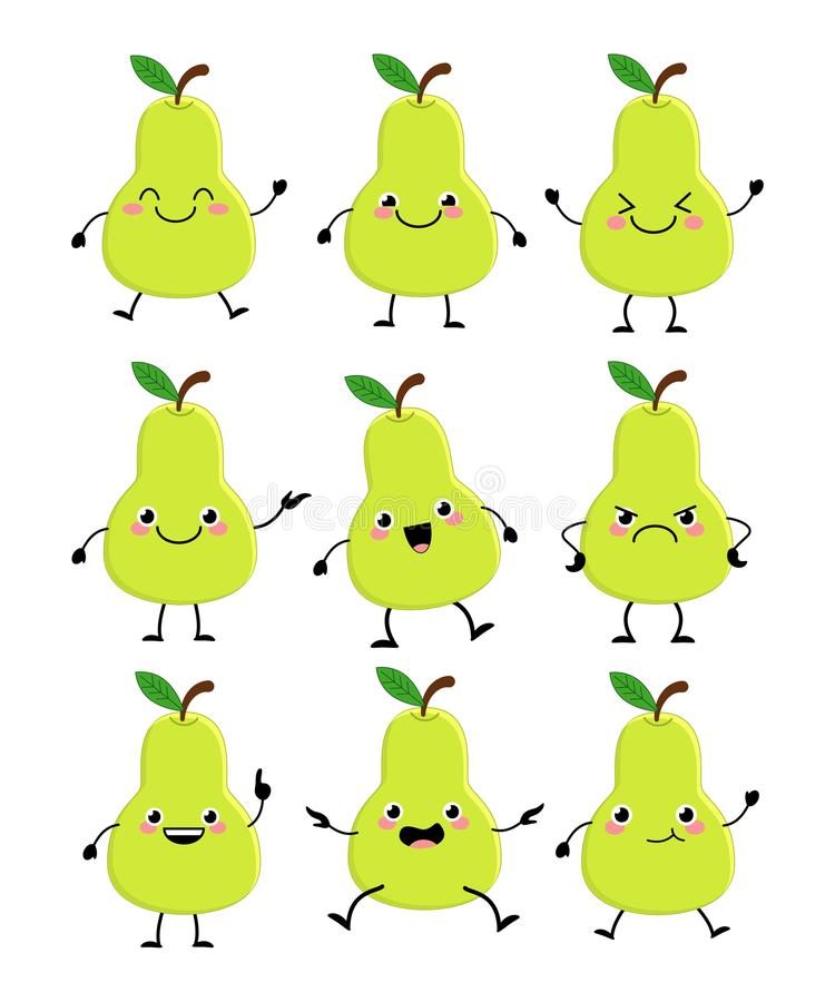 Χαριτωμένο σύνολο χαρακτήρων αχλαδιών με το διαφορετικό διάνυσμα emitions illustr απεικόνιση αποθεμάτων