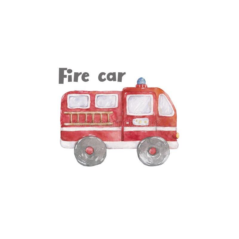 Χαριτωμένο σύνολο Watercolor πυροσβεστικών οχημάτων ζωηρόχρωμης απεικόνισης κινούμενων σχεδίων πυροσβεστικών αντλιών στο άσπρο υπ απεικόνιση αποθεμάτων