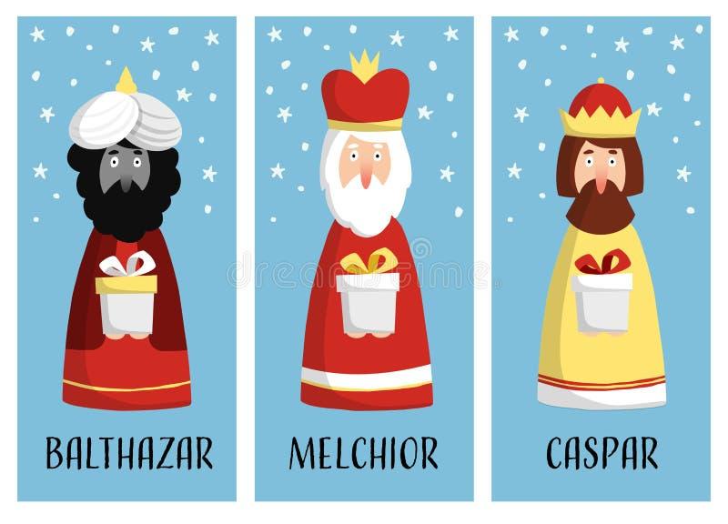 Χαριτωμένο σύνολο ευχετήριων καρτών Χριστουγέννων, ετικέττες δώρων με τρεις μάγους ελεύθερη απεικόνιση δικαιώματος