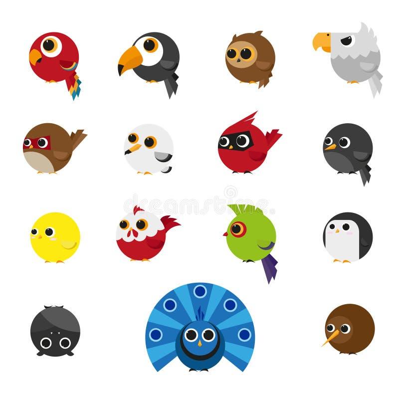 Χαριτωμένο σύνολο ζώων εικονιδίου πουλιών ελεύθερη απεικόνιση δικαιώματος